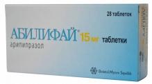 Абилифай таблетки 15мг 28 шт.