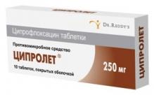 Ципролет 250мг №10 таблетки