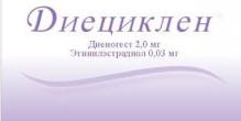 Диециклен 2мг 0,03 мг №21 таблетки