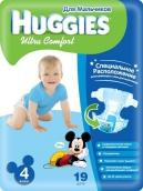 Хаггис подгузники Ultra Comfort (4) 8-14кг для мальчиков 19шт