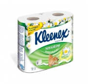 Клинекс бумага туалетная ароматизированная Нежная ромашка трехслойная 4шт