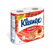 Клинекс бумага туалетная ароматизированная Сочная клубника трехслойная 4шт